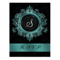 flourish aqua monogram elegant wedding RSVP Postcard