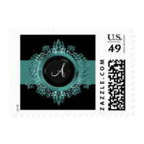flourish aqua monogram elegant wedding stamps