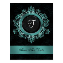 flourish aqua monogram wedding save the date postcard