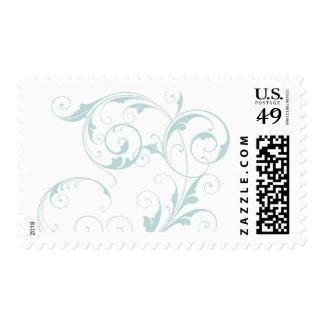 Flourish azul claro timbre postal