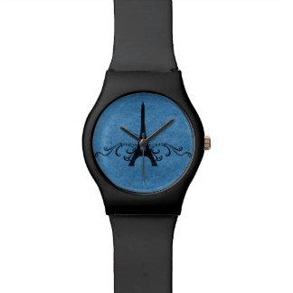 Flourish azul del francés del vintage relojes