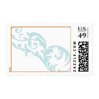 Flourish - azul y naranja sello