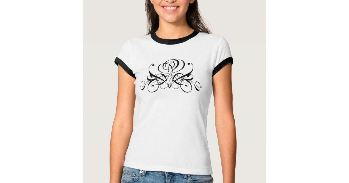 flourish black rose scroll design ringer t shirt zazzle com