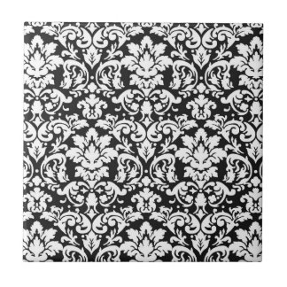 flourish blanco y negro del damasco azulejo cuadrado pequeño