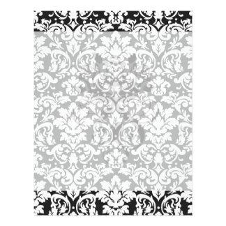 """flourish blanco y negro del damasco folleto 8.5"""" x 11"""""""