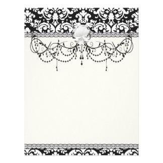 flourish blanco y negro del damasco membrete a diseño