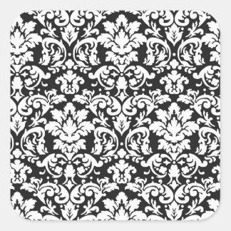 flourish blanco y negro del damasco calcomania cuadradas