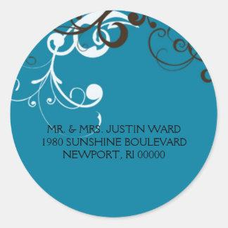 flourish; blue address classic round sticker