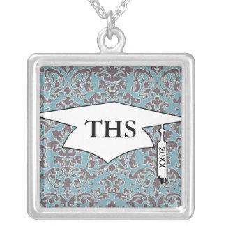 flourish blue and grey damask graduation square pendant necklace