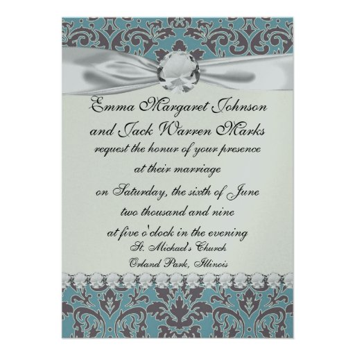 flourish blue and grey damask personalized announcement