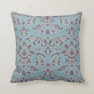 flourish blue and grey damask throw pillow