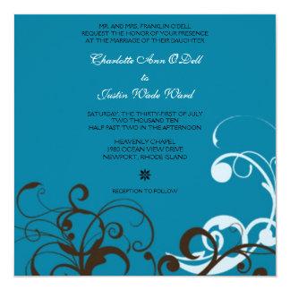 flourish; blue wedding card