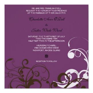 flourish; boda púrpura invitación 13,3 cm x 13,3cm