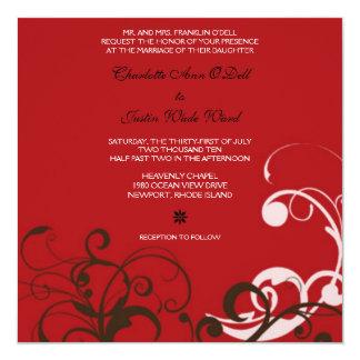 flourish; boda rojo invitación 13,3 cm x 13,3cm