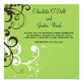 "flourish; boda verde invitación 5.25"" x 5.25"""