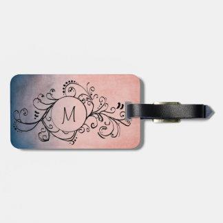 Flourish bohemio azul y rosado rústico etiqueta para equipaje