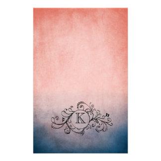 Flourish bohemio azul y rosado rústico papeleria