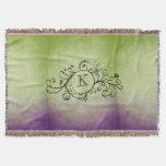 Flourish bohemio púrpura y verde rústico manta