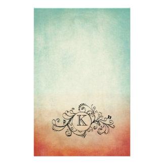 Flourish bohemio rojo y azul rústico papeleria