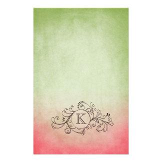Flourish bohemio rosado y verde rústico papeleria personalizada
