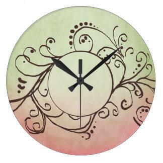 Flourish bohemio rosado y verde rústico relojes