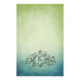 Flourish bohemio verde y azul rústico papeleria