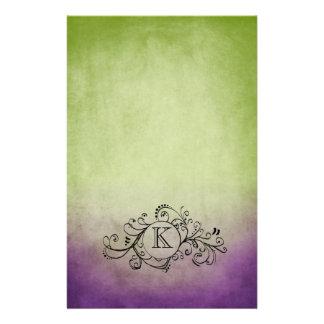 Flourish bohemio verde y púrpura rústico papelería de diseño