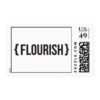 Flourish - Bracketed - Black and White Postage Stamp