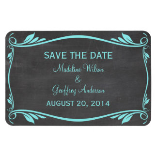 Flourish Chalkboard Save the Date Magnet, Aqua