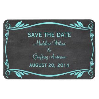 Flourish Chalkboard Save the Date Magnet, Aqua Rectangular Photo Magnet