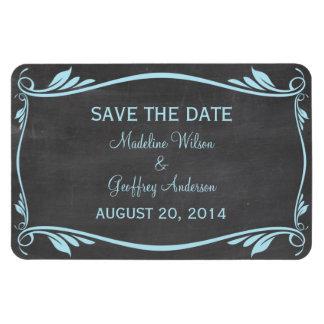 Flourish Chalkboard Save the Date Magnet, Blue Rectangular Photo Magnet