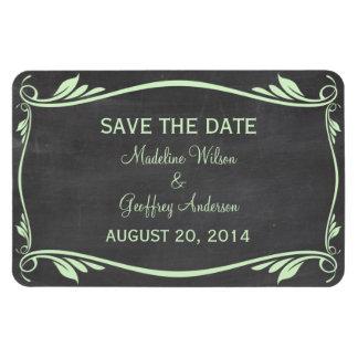 Flourish Chalkboard Save the Date Magnet, Green Rectangular Photo Magnet