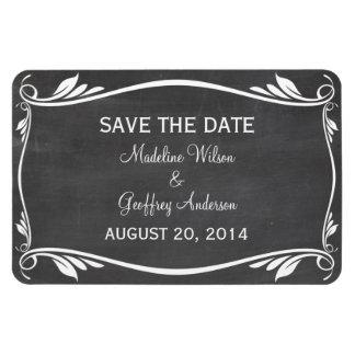 Flourish Chalkboard Save the Date Magnet, Ivory