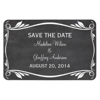 Flourish Chalkboard Save the Date Magnet, Ivory Rectangular Photo Magnet