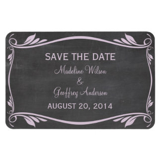 Flourish Chalkboard Save the Date Magnet, Lilac Rectangular Photo Magnet