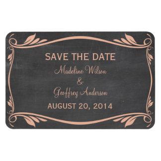 Flourish Chalkboard Save the Date Magnet, Peach Rectangular Photo Magnet