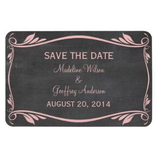 Flourish Chalkboard Save the Date Magnet, Pink Rectangular Photo Magnet