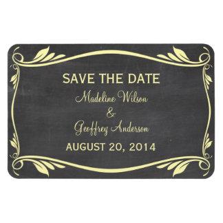 Flourish Chalkboard Save the Date Magnet, Yellow Rectangular Photo Magnet