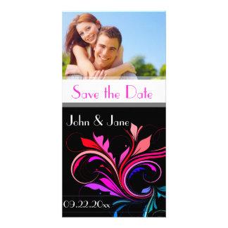 "Flourish colorido /photo ""reserva la fecha "" tarjetas fotograficas personalizadas"