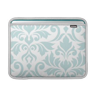 Flourish Damask Art I Duck Egg Blue on White MacBook Air Sleeve