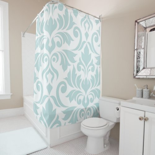 Flourish Damask Art I Duck Egg Blue on White Shower Curtain