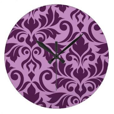 Beach Themed Flourish Damask Art I Plum on Pink Large Clock