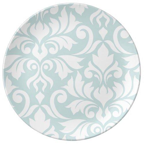 Flourish Damask Art I White on Duck Egg Blue Dinner Plate