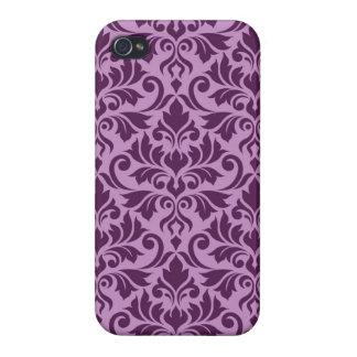 Flourish Damask Big Pattern Plum on Pink iPhone 4/4S Cover