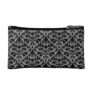 Flourish Damask Pattern Black on Gray Makeup Bag