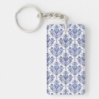Flourish Damask Pattern - blue Double-Sided Rectangular Acrylic Keychain