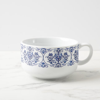 Flourish Damask Pattern - blue Soup Mug