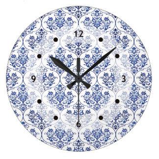 Flourish Damask Pattern - blue Wall Clocks