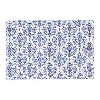 Flourish Damask Pattern - blue + your idea Placemat