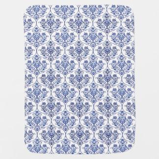 Flourish Damask Pattern - blue Receiving Blanket